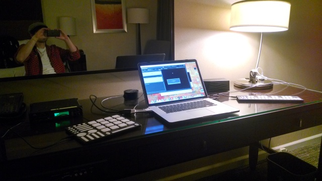 Hotel studio session!  Q:  When's the best time to work on music?  A:  Do you have 5 minutes?