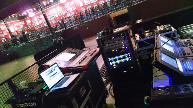 My new-new setup the Digico SD9 (with fellow FOH Warrior Brett, our LD)