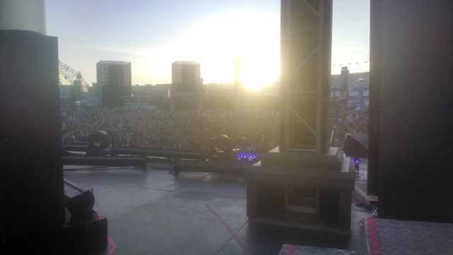 Here's a shot from our stage's perspective, a few hours before our set