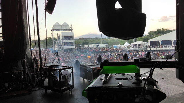 Here's a shot of FOH from the stage - see me back there?  Of course not, I'm taking this picture.