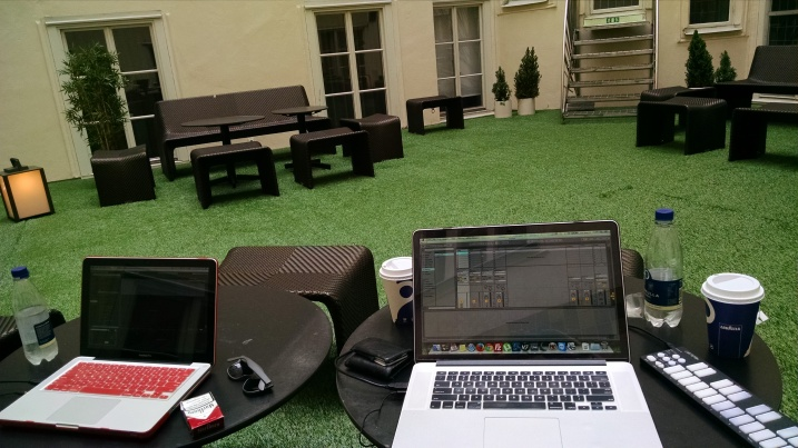 Secret garden at the hotel in Sweden - perfect for writing some mid-day tunes